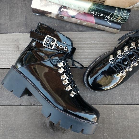 f4783c1b807 Shoes | Lug Sole Patent Buckled Platform Combat Boots 38 | Poshmark